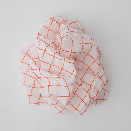 Muslin Swaddle, Orange Windowpane