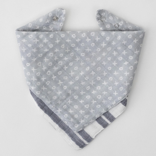Reversible Bandana Bib, Xoxo/Double Grey Stripe