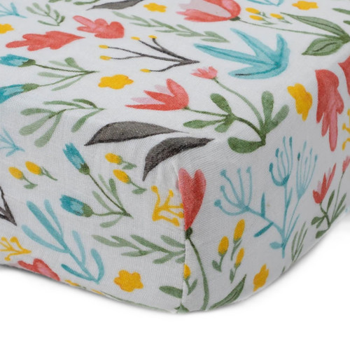 Cotton Muslin Fitted Crib Sheet, Meadow