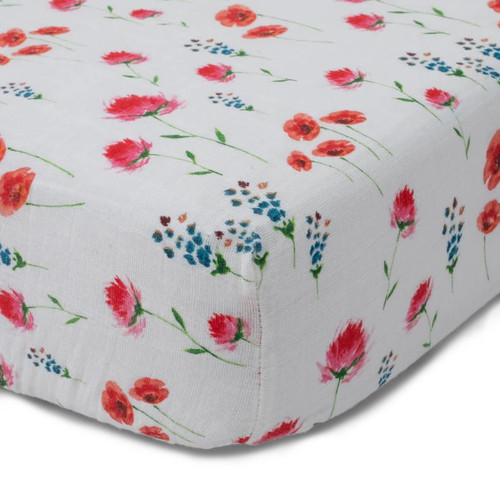 Cotton Muslin Fitted Crib Sheet, Wild Mums