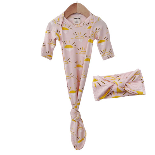 Knotted Gown & Bow Set, Pink Sun