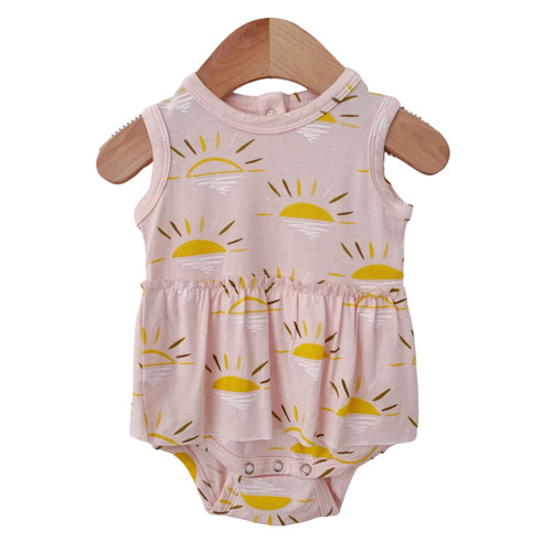 Sleeveless Skirted Bodysuit, Pink Sun