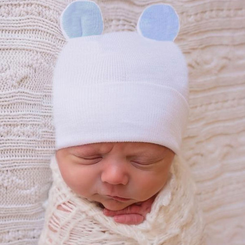 Newborn Bear Hat, White/Blue Ears