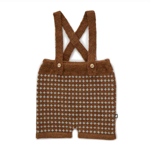 Oeuf Suspender Shorts, Hazelnut/Cross
