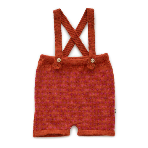 Oeuf Suspender Shorts, Paprika/Cross