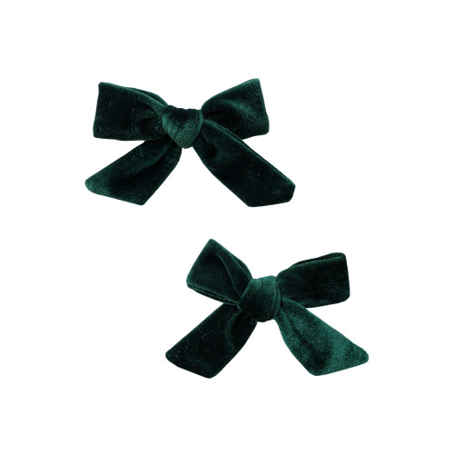 2-Pack Velvet Bow Clips, Forest Green