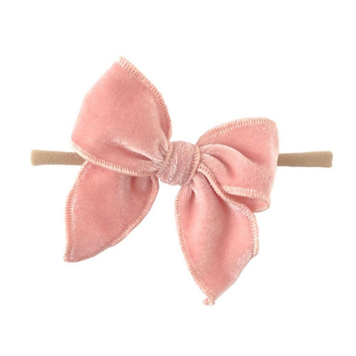 Skinny Edged Velvet Bow, Baby Pink