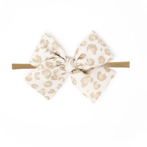 Nylon Headband Bow, Snow Leopard