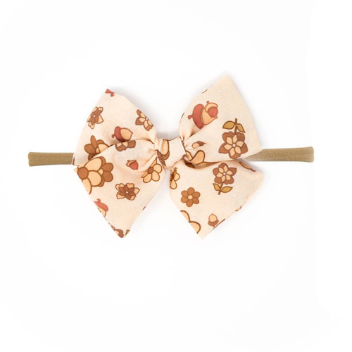 Nylon Headband Bow, Fall Flowers