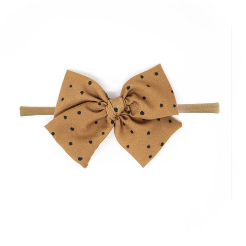 Nylon Headband Bow, Camel Dot