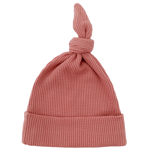 Organic Waffle Knot Beanie, Dusty Rose