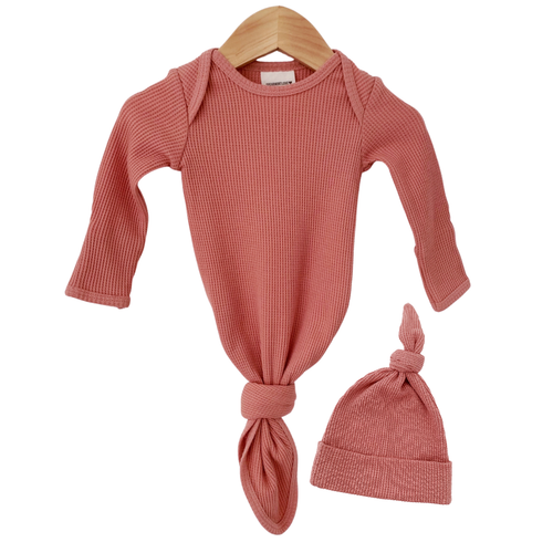 Organic Waffle Knotted Gown & Hat, Dusty Rose