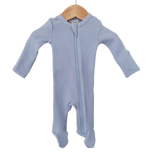 Organic Waffle Basic Zip Footie, Baby Blue