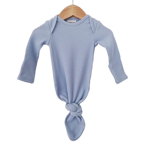 Organic Waffle Knotted Gown, Baby Blue