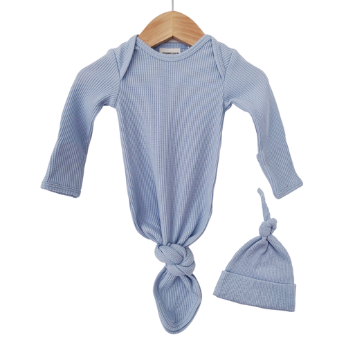 Organic Waffle Knotted Gown & Hat, Baby Blue