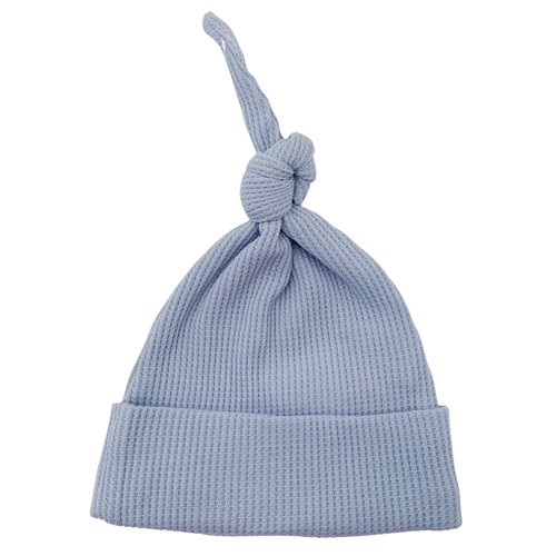 Organic Waffle Knot Beanie, Baby Blue