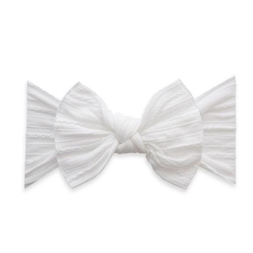 Cable Knit Knot Bow, White
