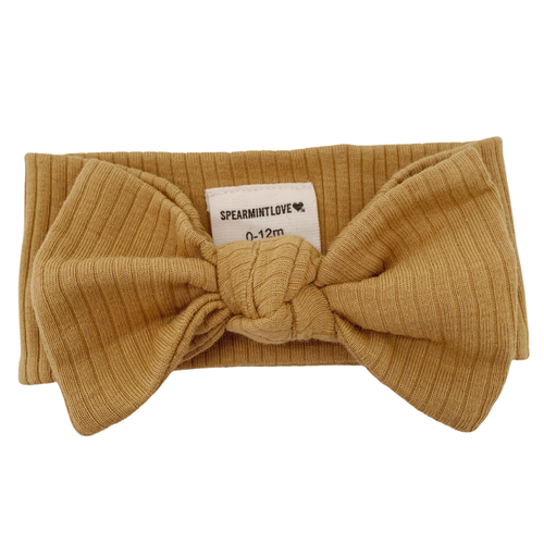 Organic Ribbed Knot Bow, Honey