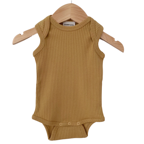 Organic Ribbed Sleeveless Bodysuit, Honey