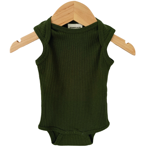 Organic Ribbed Sleeveless Bodysuit, Forest Green