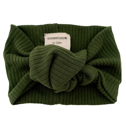 Organic Ribbed Turban Headband, Forest Green