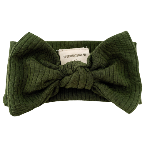 Organic Ribbed Knot Bow, Forest Green