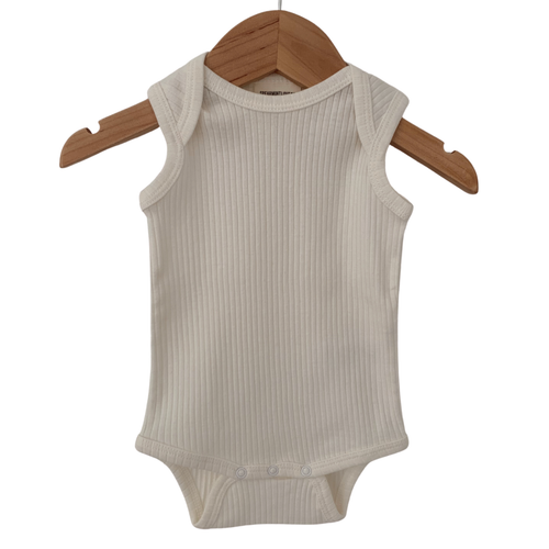 Organic Ribbed Sleeveless Bodysuit, Natural