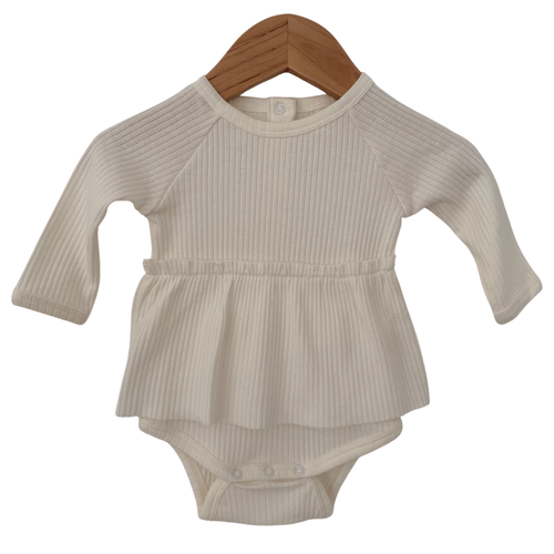Organic Ribbed Skirted Bodysuit, Natural