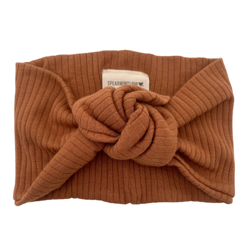 Organic Ribbed Turban Headband, Cider