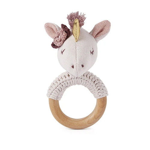 Luna Unicorn Knit Ring Rattle