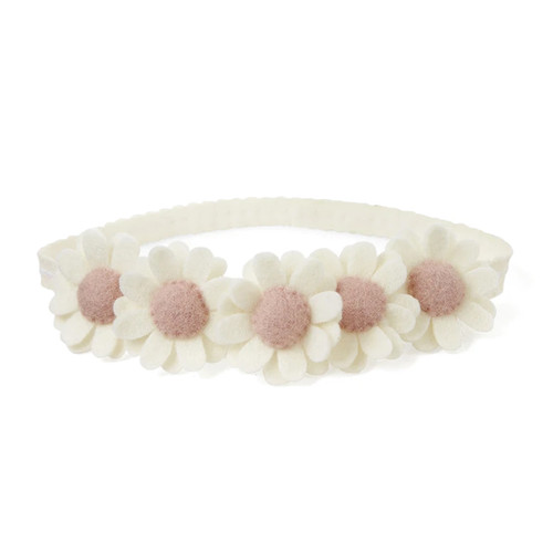 Nylon Headband, Cream Flowers