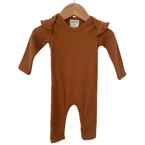 Organic Ribbed Ruffle Sleeve Jumpsuit, Cider