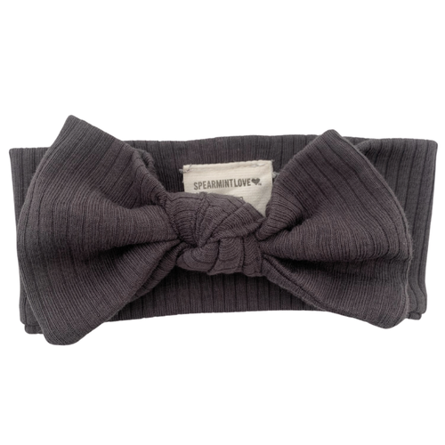 Organic Ribbed Knot Bow, Coal