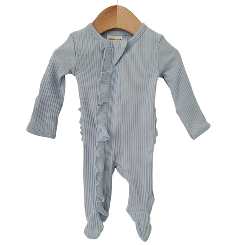 Organic Ribbed Ruffle Zip Footie, Baby Blue