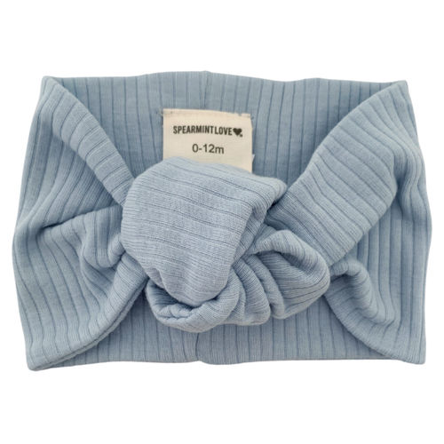 Organic Ribbed Turban Headband, Baby Blue