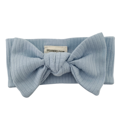 Organic Ribbed Knot Bow, Baby Blue