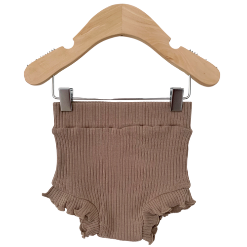 Organic Ribbed Ruffle Bloomer, Clay