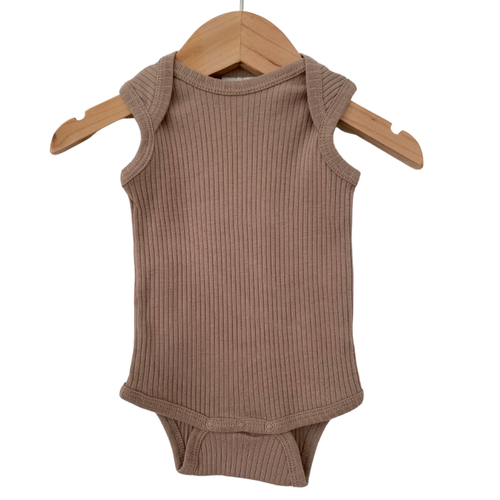 Organic Ribbed Sleeveless Bodysuit, Clay