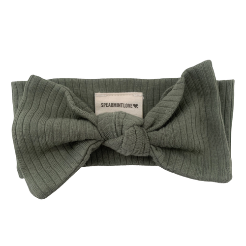 Organic Ribbed Knot Bow, Fern