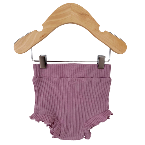 Organic Ribbed Ruffle Bloomer, Lavender