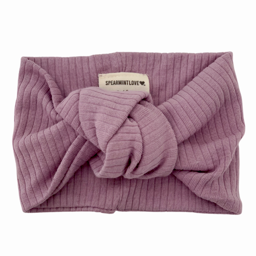 Organic Ribbed Turban Headband, Lavender