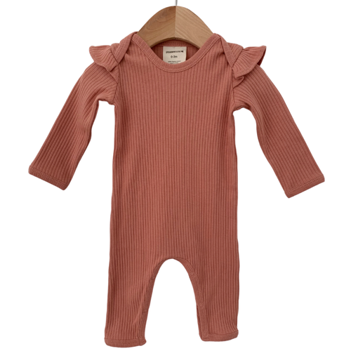 Organic Ribbed Ruffle Sleeve Jumpsuit, Dusty Rose