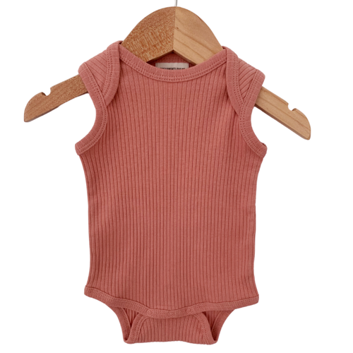 Organic Ribbed Sleeveless Bodysuit, Dusty Rose