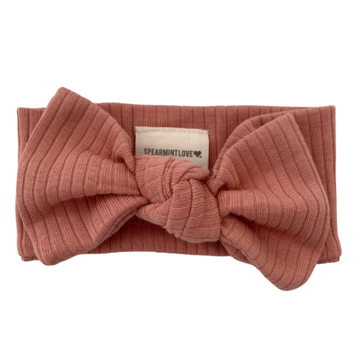Organic Ribbed Knot Bow, Dusty Rose