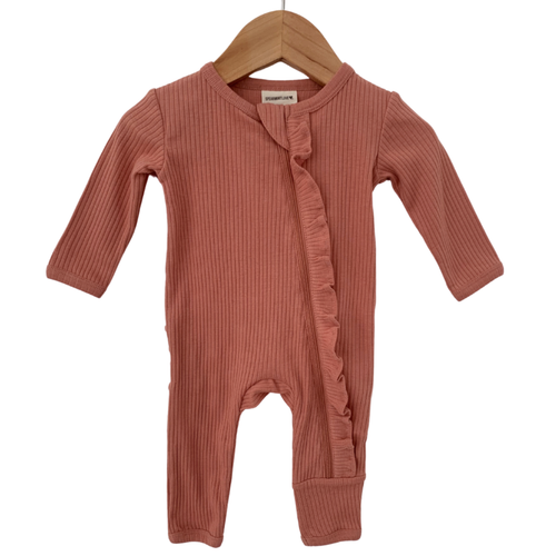 Organic Ribbed Ruffle Zip Romper, Dusty Rose