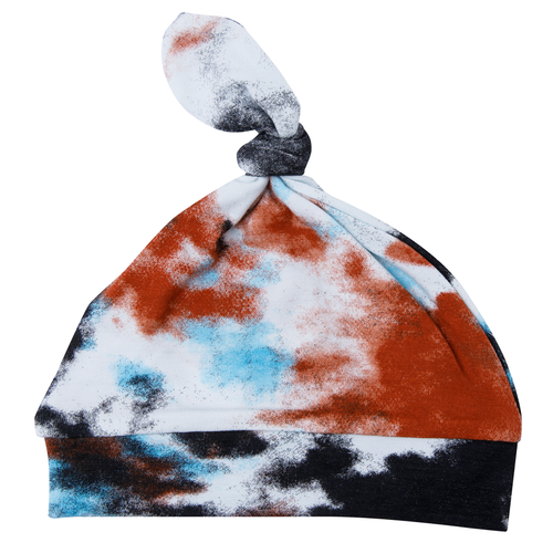 Knotted Beanie, Crinkle Tie Dye Blue