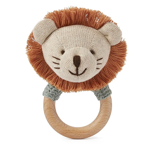 Lion Wooden Knit Ring Rattle