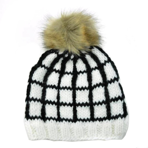 Windowpane Hat, White/Black