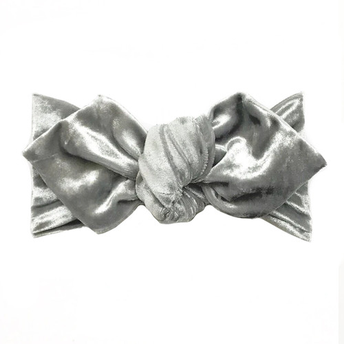 Top Knot Headband, Crushed Silver Velvet
