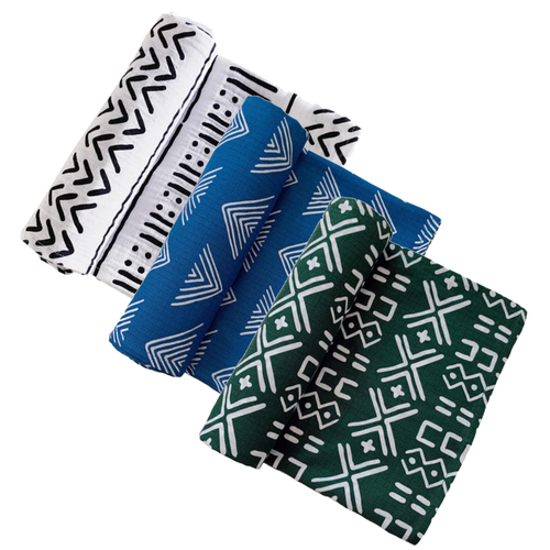 Muslin Swaddle 3-Pack: White, Marine Blue, & Forest Mudcloth